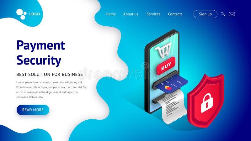 Online płatniczy ochrony pojęcie ląduje błękit ilustracji
