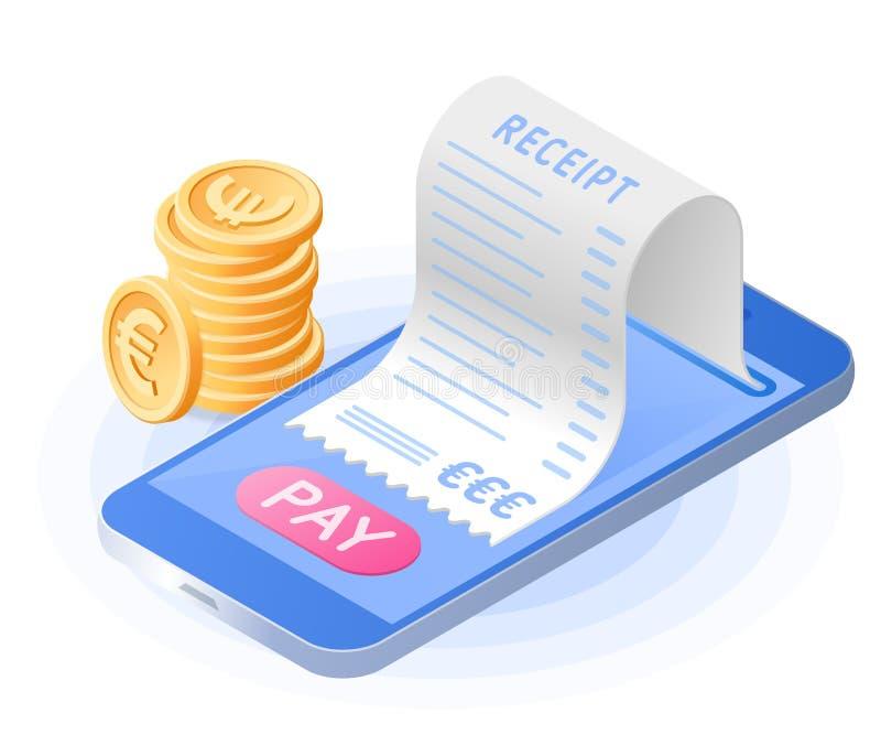 Online płatniczy rachunek od telefonu komórkowego Płaski wektorowy isometric ilustracji