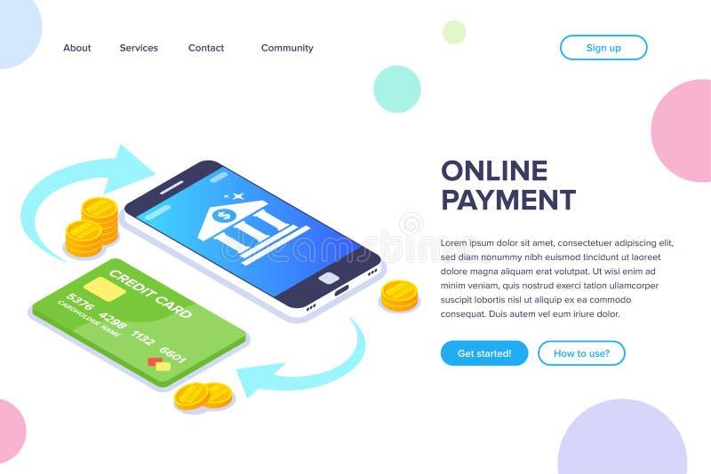 Online p?atniczy isometric poj?cie Pieniądze transakcja między telefonem i kartą Bank ikona na smartphone ekranie mieszkanie ilustracji