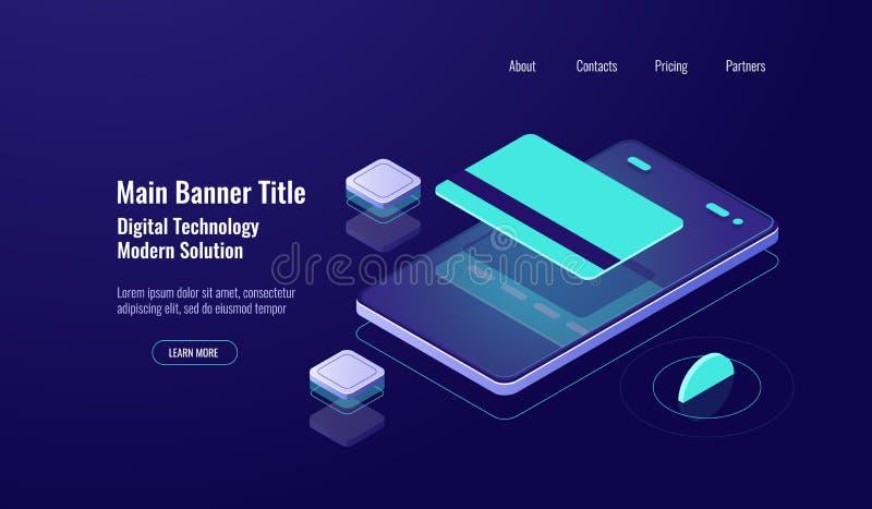 Online-packa ihop, betalningmobiltelefon, isometrisk symbol, kreditkort, begrepp för pengaröverföring, mörkt neon vektor illustrationer