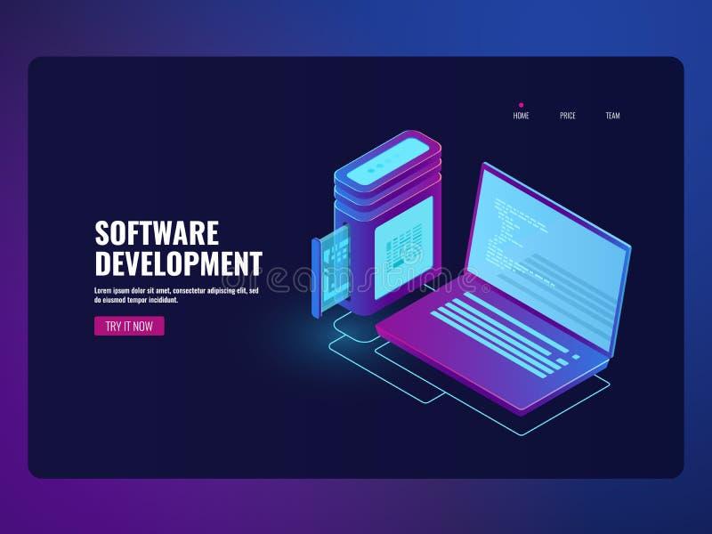 Online-packa ihop programvara, bärbar dator med programkod på skärm-, programmera och programutveckling, robotic teknologi royaltyfri illustrationer