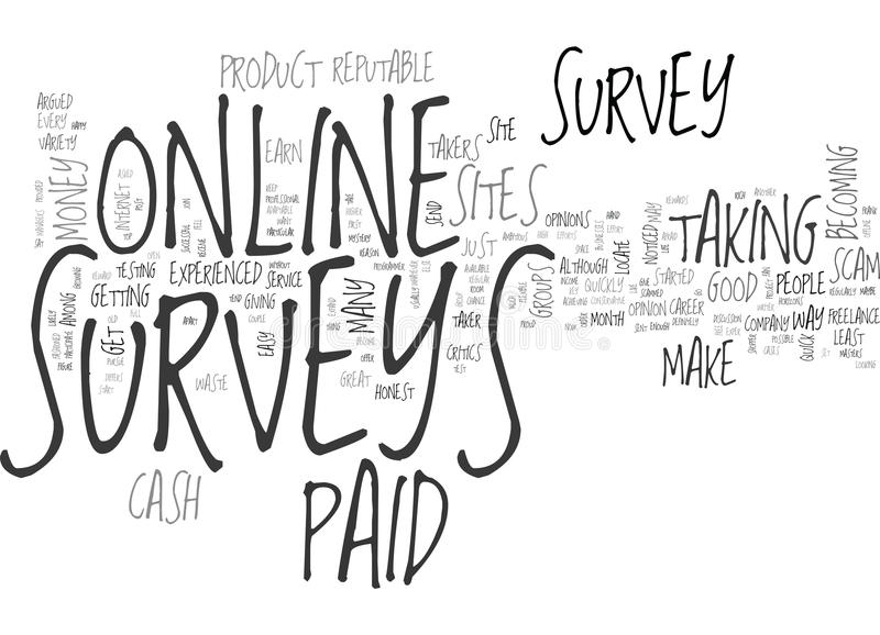Are Online Paid Surveys A Scam Word Cloud. ARE ONLINE PAID SURVEYS A SCAM TEXT WORD CLOUD CONCEPT stock illustration