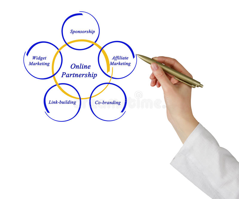 Online Partnership. Presenting diagram of Online Partnership royalty free stock images