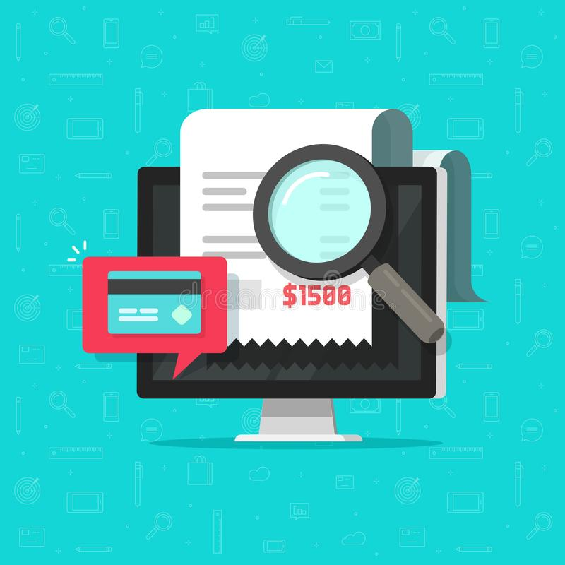 Online payment audit analyzing on computer vector illustration, pay bill research on desktop pc concept, financial royalty free illustration