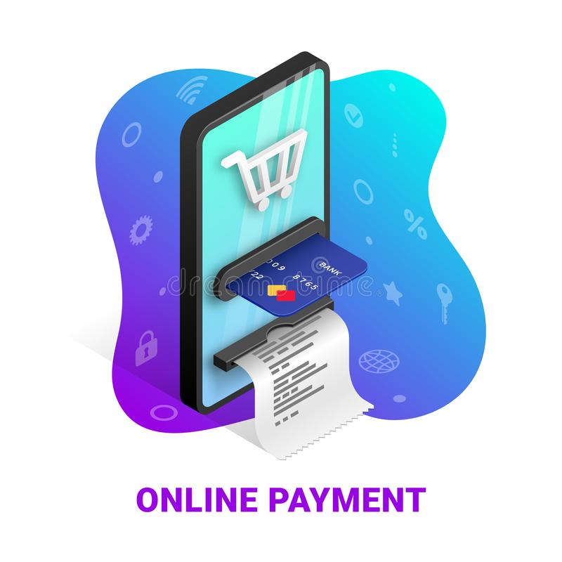 Online payment concept icons royalty free illustration