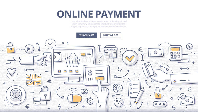 Online Payment Doodle Concept stock illustration