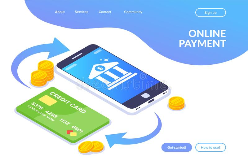 Online payment isometric concept. Money transaction between phone and card. Bank icon on the smartphone screen. Flat vector illustration