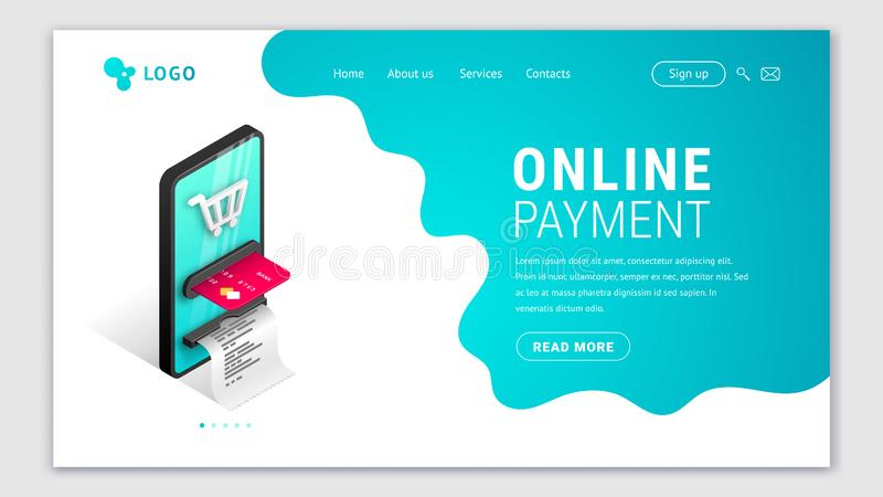 Online payment Landing page concept stock illustration