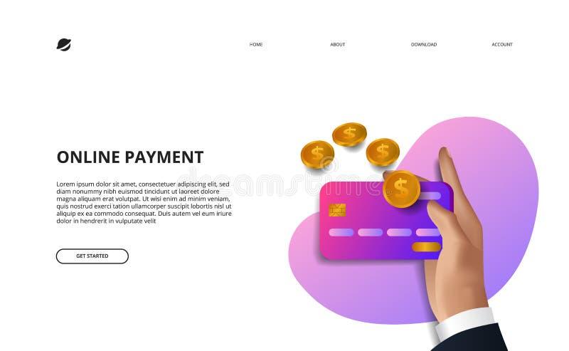 Online payment landing page illustration business finance e commerce concept vector illustration