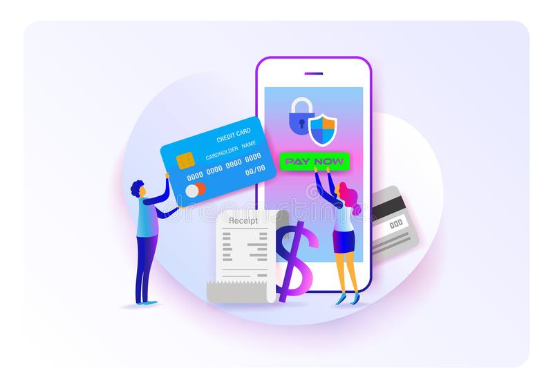 Online payment. Pay on mobile. Flat cartoon miniature. background presentation. Vector vector illustration