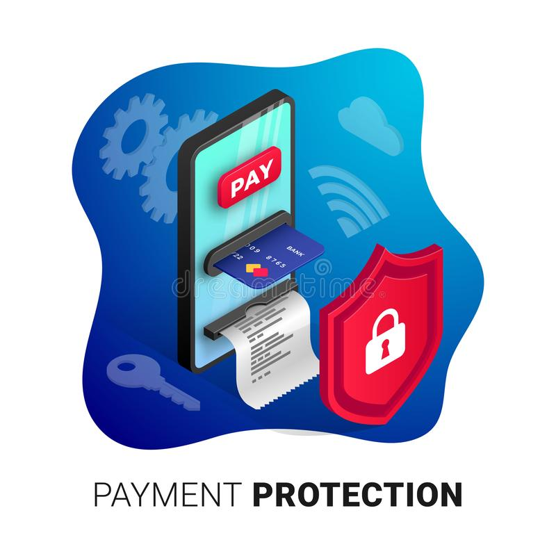 Online payment protection concept royalty free illustration
