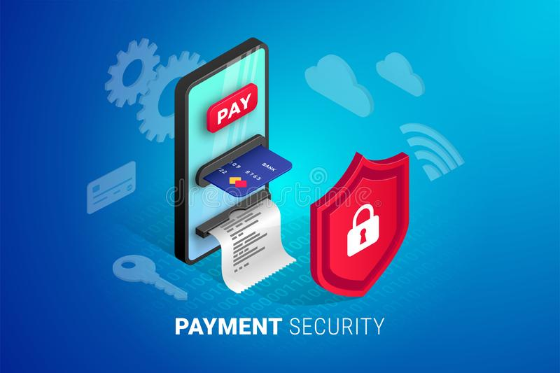 Online payment security concept vector illustration