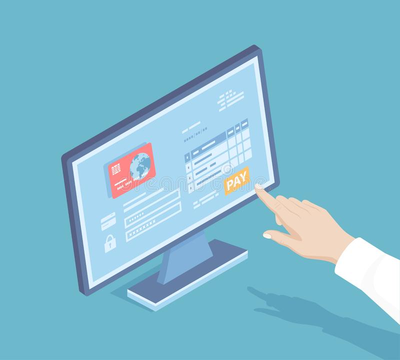 Online payment service. Invoice form, credit card. Man finger presses the pay button on the monitor screen Internet banking concep vector illustration