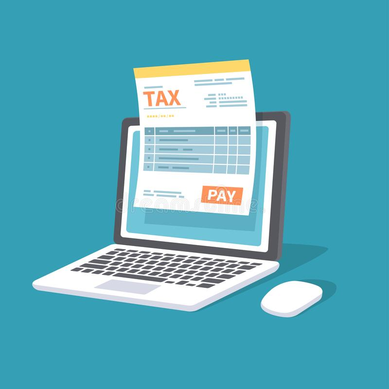 Online payment service. Tax form on the laptop screen with a pay button. Internet banking concept. Online paying, bookkeeping vector illustration