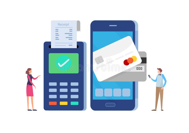 Online payment with smartphone. Paid by credit card. Flat cartoon miniature illustration vector graphic. On white background royalty free illustration