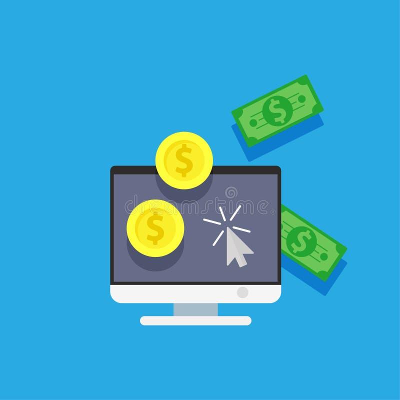 Online-pengar för lönkortkreditering Betalningshopping på illustration för datorinternetapp Vektor för köp för affärsbakgrundssym royaltyfri illustrationer