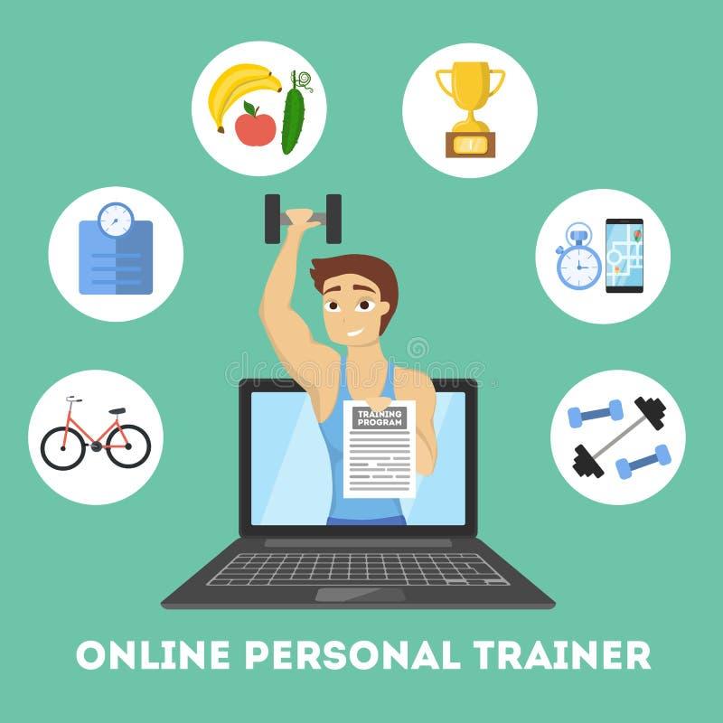 Online persoonlijke trainer vector illustratie