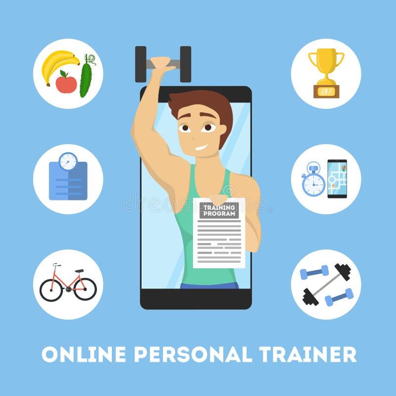 Online persoonlijke trainer royalty-vrije illustratie
