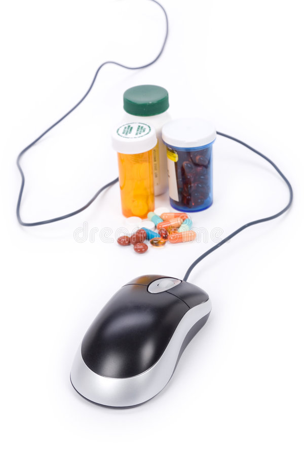 Online pharmacy. Medicine and computer mouse, concept of online pharmacy