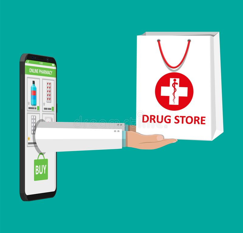 Online pharmacy or drugstore. Hand and smartphone with shopping app. White shopping bag for medical pills and bottles, healthcare and shopping, pharmacy, drug vector illustration
