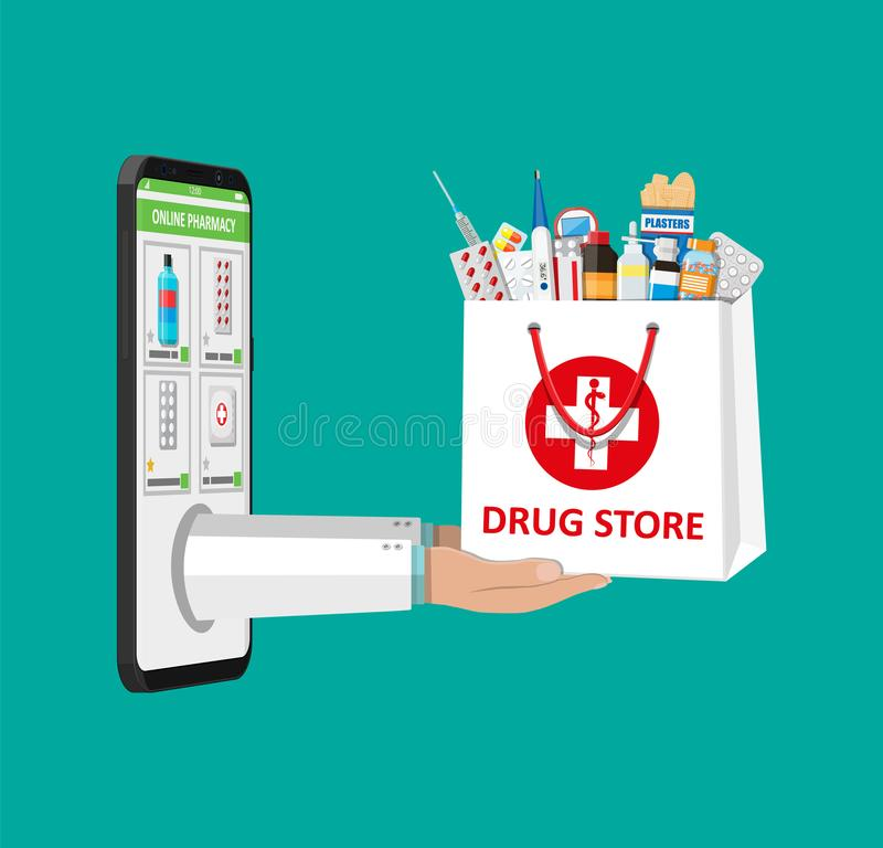 Online pharmacy or drugstore. Hand and smartphone with shopping app. White shopping bag for medical pills and bottles, healthcare and shopping, pharmacy, drug stock illustration