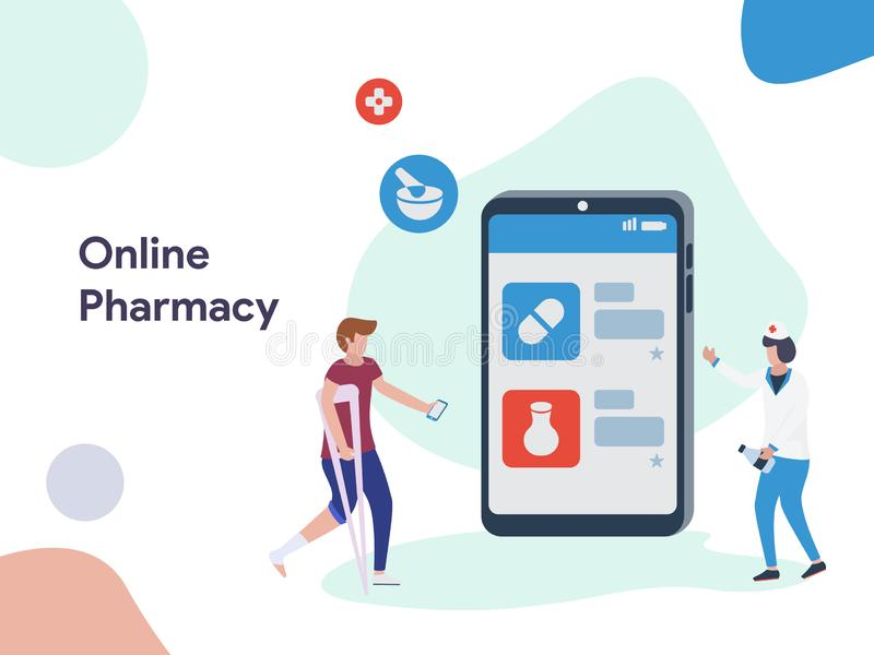 Online Pharmacy illustration. Modern flat design style for website and mobile website.Vector illustration. EPS 10 royalty free illustration