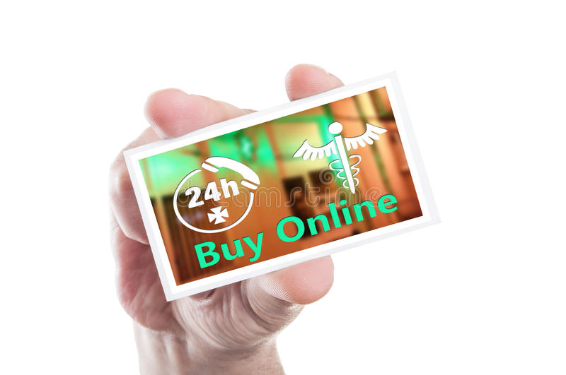 Online pharmacy open 247 concept. Hand holding card with online pharmacy open 247 concept stock photos