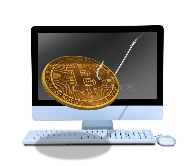 Online-phishing Bitcoin på fiskkroken som kommer ut ur datoren att locka dig in i att inhandla att bryta och att hacka royaltyfri foto