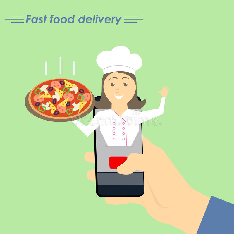 Online pizza delivery. The concept of e-commerce: online food or royalty free illustration