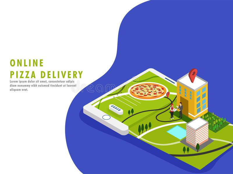 Online Pizza Delivery Concept. vector illustration