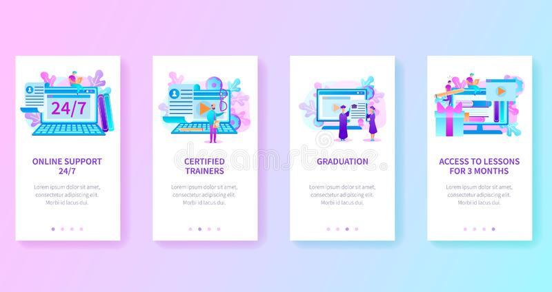 Online Education Site Vertical Web Page Templates. Online Platform or Internet Site of University, Distant Learning Self-Education Service, Online Courses with stock illustration