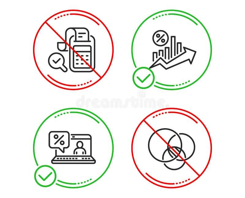 Online po?yczka, Bill ksi?gowo?? i po?yczka procent ikony ustawia?, Euler diagrama znak wektor royalty ilustracja