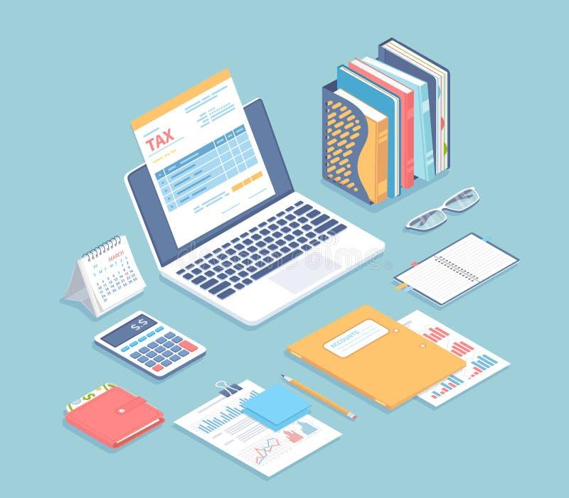 Online podatek zap?ata, ksi?gowo??, rozlicza Podatek forma na laptopu ekranie, konta, kalendarz, kalkulator, falcówki, portfel, d ilustracja wektor