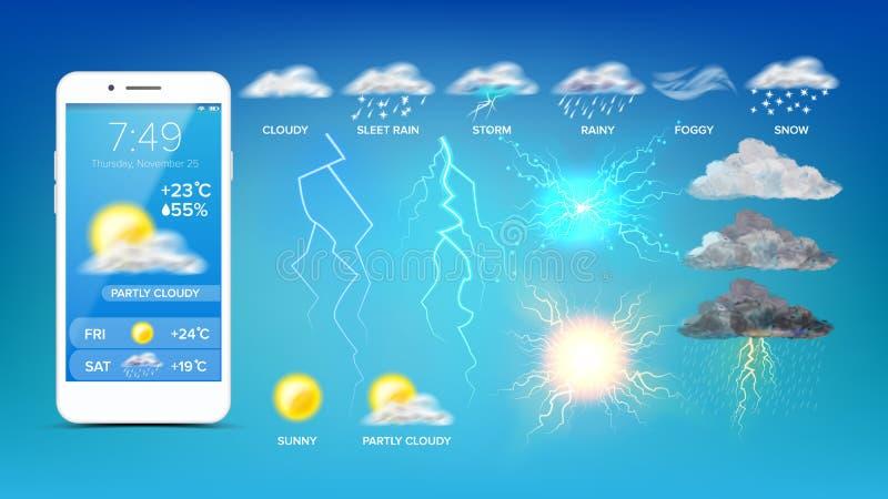Online Pogodowy Widget Na Smartphone ekranu wektorze royalty ilustracja