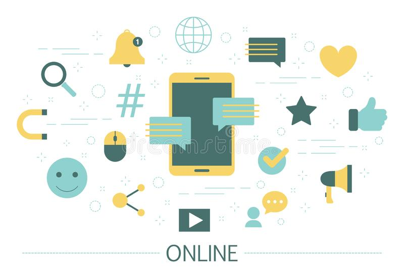 Online pojęcie Communiction w internecie Robić zakupy i nauka ilustracja wektor
