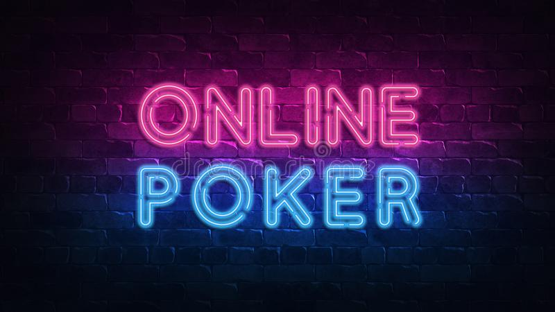 Online poker neon signboard in retro style on light background. Gambling fortune chance. Fortune sign. Bright signboard, light stock illustration