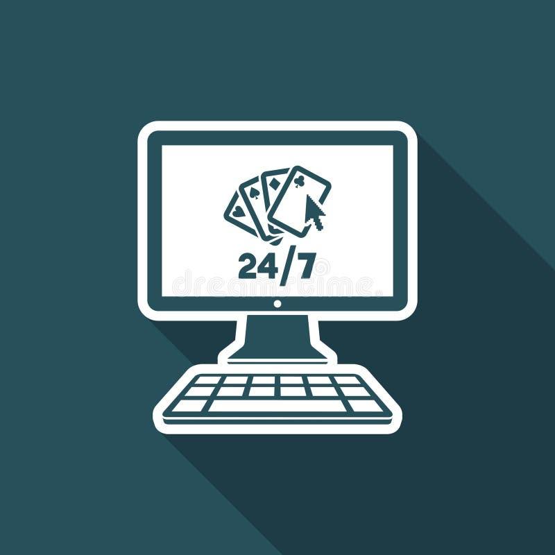 Online-poker 24/7 - plan symbol för vektor vektor illustrationer