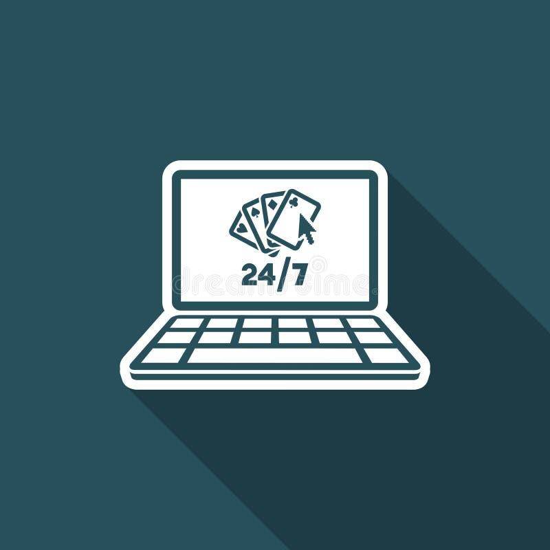 Online-poker 24/7 - plan symbol för vektor stock illustrationer