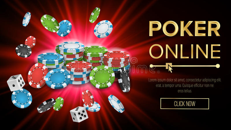 Online Poker Vector. Gambling Casino Banner Sign. Explosion Chips, Playing Dice. Jackpot Casino Billboard, Signage vector illustration