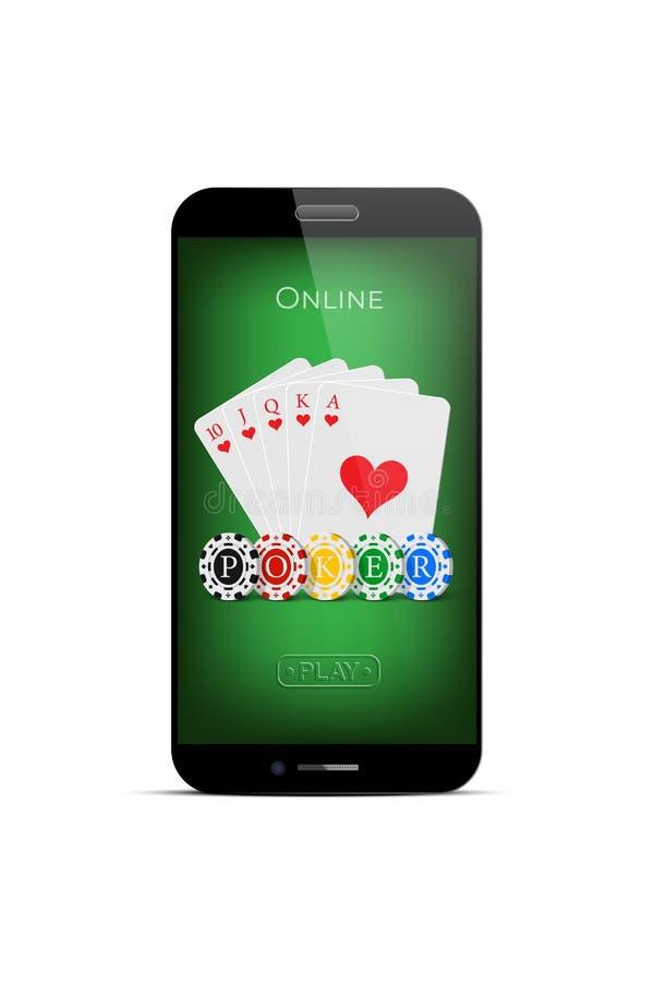 Online-pokerdesignmall Gå i flisor kunglig spolning för vektor av hjärtor och kasinot med pokerord på grön smartphoneskärm stock illustrationer