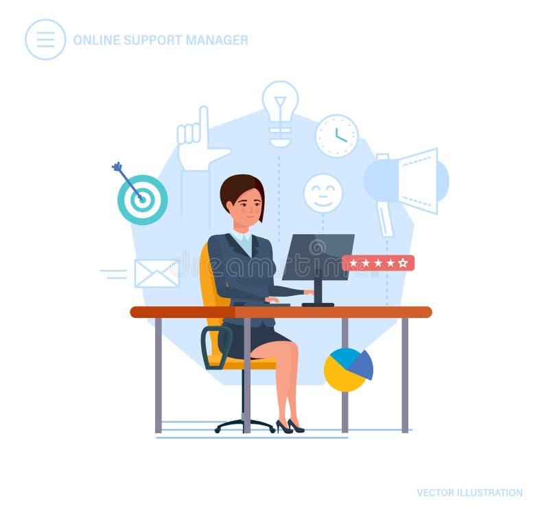 Online poparcie kierownik Centrum telefoniczne, konsultacja, komunikacje, klient usługa ilustracja wektor