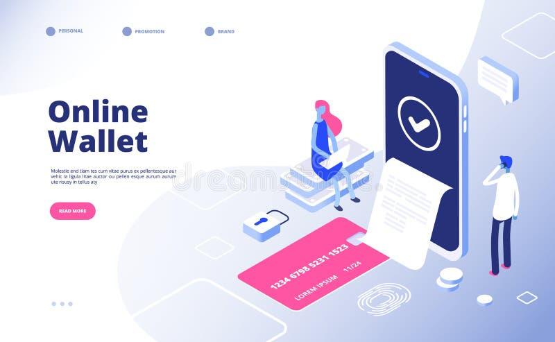 Online portefeuille Internet-de transacties elektronische portefeuilles van het betalingsgeld virtuele het verdienen mobiele tele vector illustratie