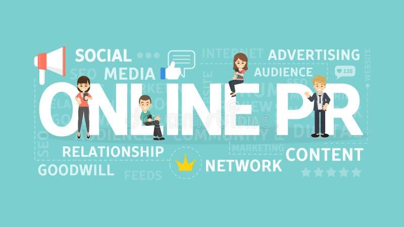 Online PR concept. Online PR concept illustration. Idea of digital marketing, online business and internet royalty free illustration