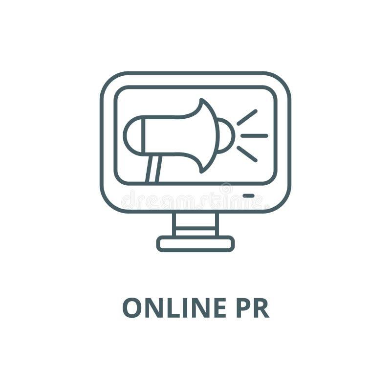 Online-pr-vektorlinje symbol, linj?rt begrepp, ?versiktstecken, symbol royaltyfri illustrationer