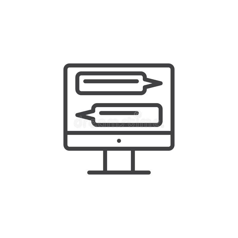 Online praatje op het pictogram van de het schermlijn van de computermonitor vector illustratie
