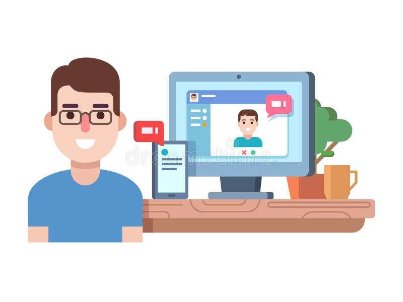 Online-pratstundteknologi vektor illustrationer