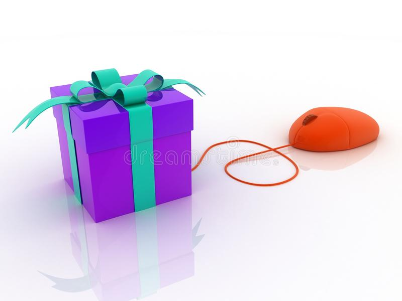Online present gift mouse concept stock illustration