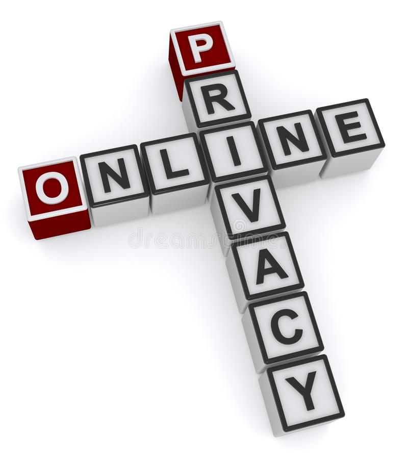 Online privacy word block royalty free illustration