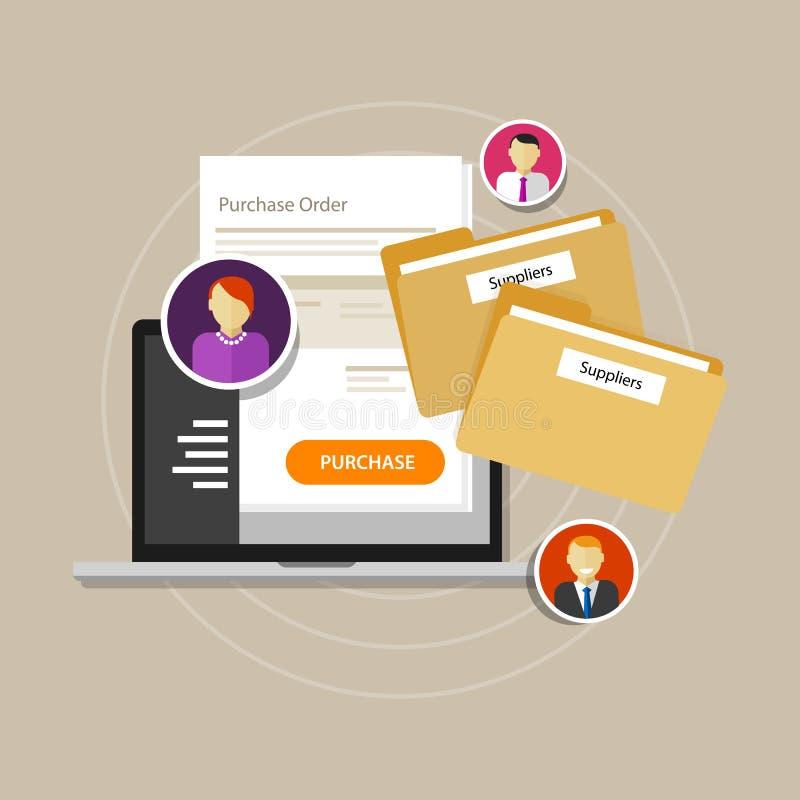 Online procurement e-procurement procure internet laptop. Vector vector illustration