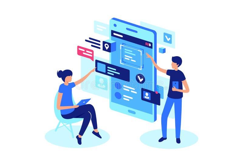 Online-produktpresentation med projektlaget royaltyfri illustrationer